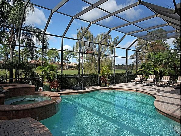 Screened in pool with golf view near the gulf of florida for Pool designs florida