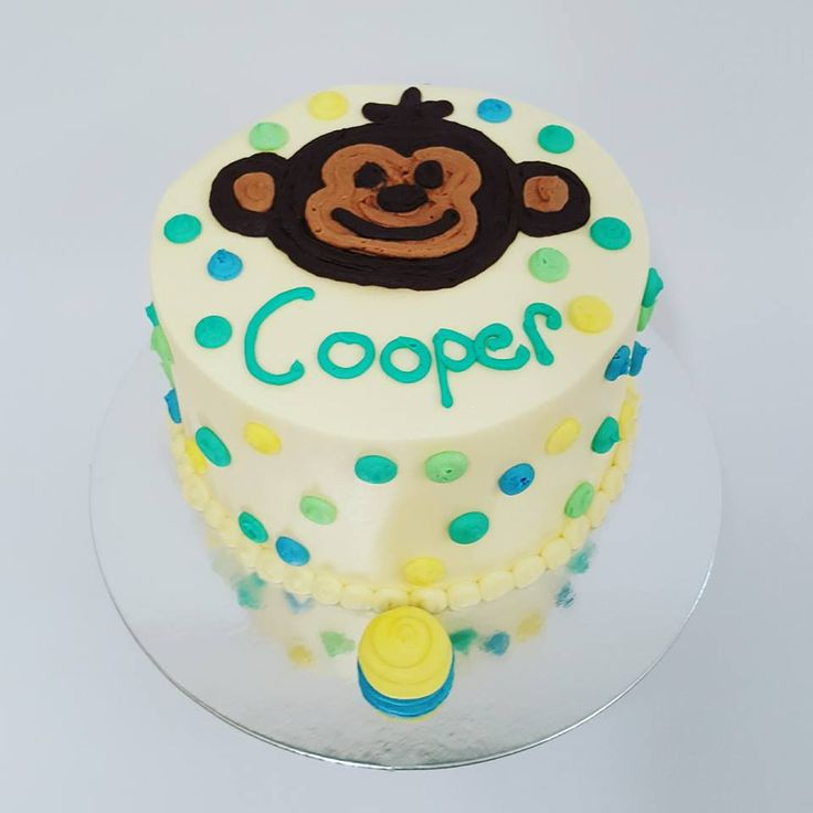 Green, Blue and Yellow polka dots with Piped Monkey Face