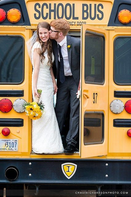 School Teacher Wedding Ideas - A school Bus instead of a traditional limo!