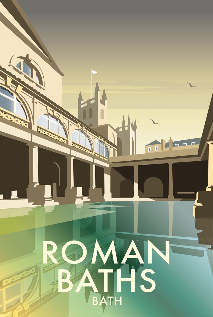 Roman Baths (DT43F) Town  City Print by Dave Thompson www.thewhistlefish.com/product/dt43f-roman-baths-framed-art-print-by-dave-thompson #romanbaths #bath