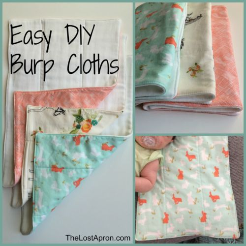 Today our sweet contributor, Ana, of The Lost Apron is sharing: These burp cloths are quick and easy to make.  They are great for your baby, to give to a new mom, or as a simple baby shower gift.  They are made with a cloth diaper on one side and fun fabrics on the other …