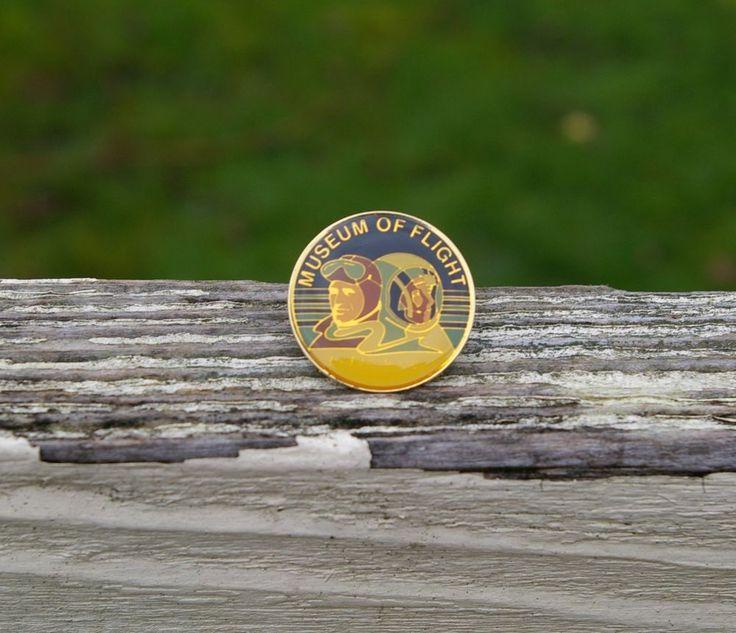 Museum of Flight Pilot Astronaut Future Gold Tone Metal Enamel Lapel Pin Pinback    eBay