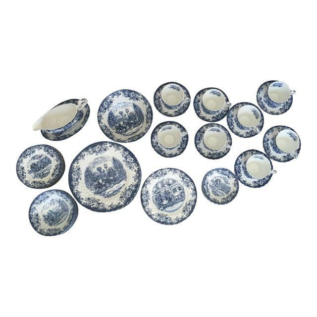 Image of Johnson Brothers Blue & White Dinnerware Set