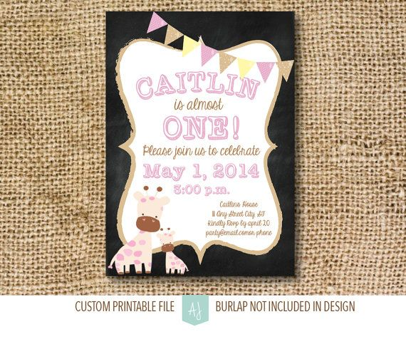 Birthday Invitation, Chalkboard Children's Birthday Invite with Bunting- Giraffe Invite-Children's Birthday Party- Printable File