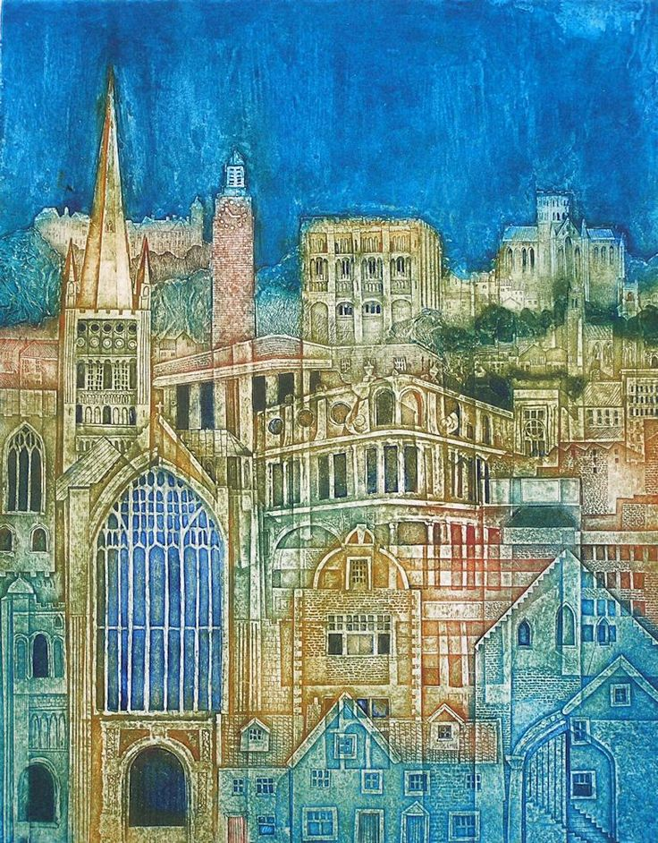 The City, Collagraph by Laurie Rudling