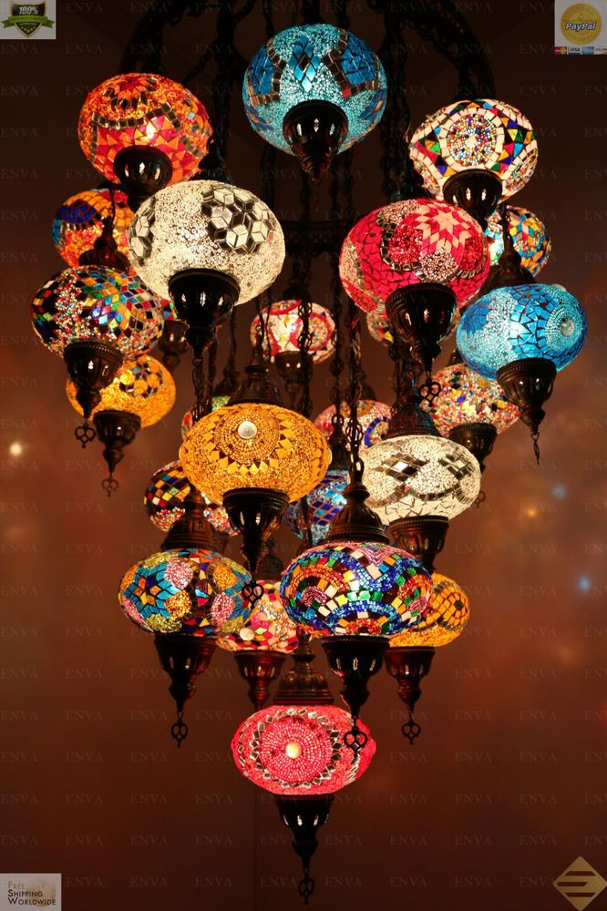 Multicolour Turkish Morrocan Mosaic Hanging Lamp Light Hand Made 25 Large Globe