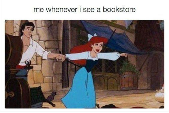 Disney characters seem to be able to express the pure joy that book lovers experience around books, bookstores, and libraries. Ariel knows how we feel.