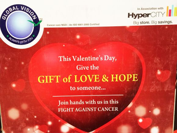 Global Vision Thane celebrated Valentines day by organizing cancer awareness activity on 14th to 16th Feb 2014 at Hypercity, Malad, Mumbai.