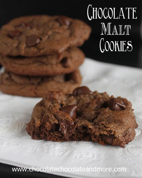 Chocolate Malt Cookies with Chocolate Chips from www.chocolatechocolateandmore.com #cookies #chocolate