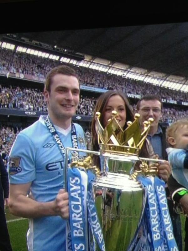 Academy graduate from Boro-Adam Johnson-with the EPL trophy as a Manchester City FC player