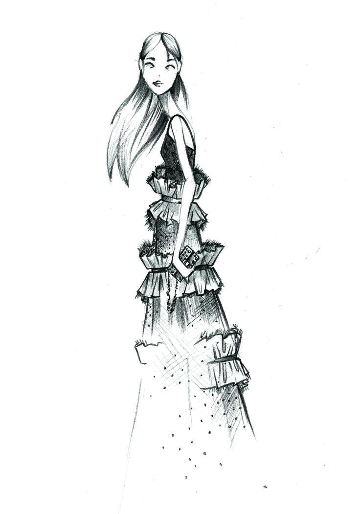 My fashion illustration! #Gucci dress