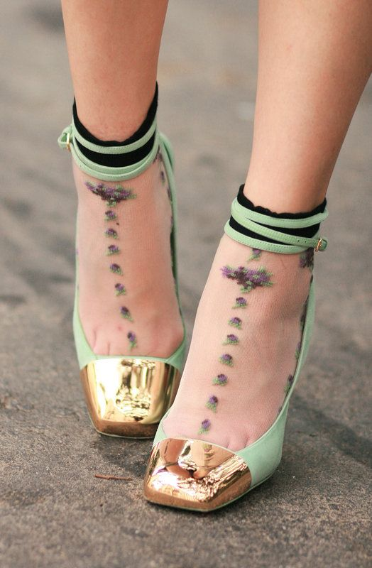 really amazed by the idea of matching socks with heels to add that extra oomph.