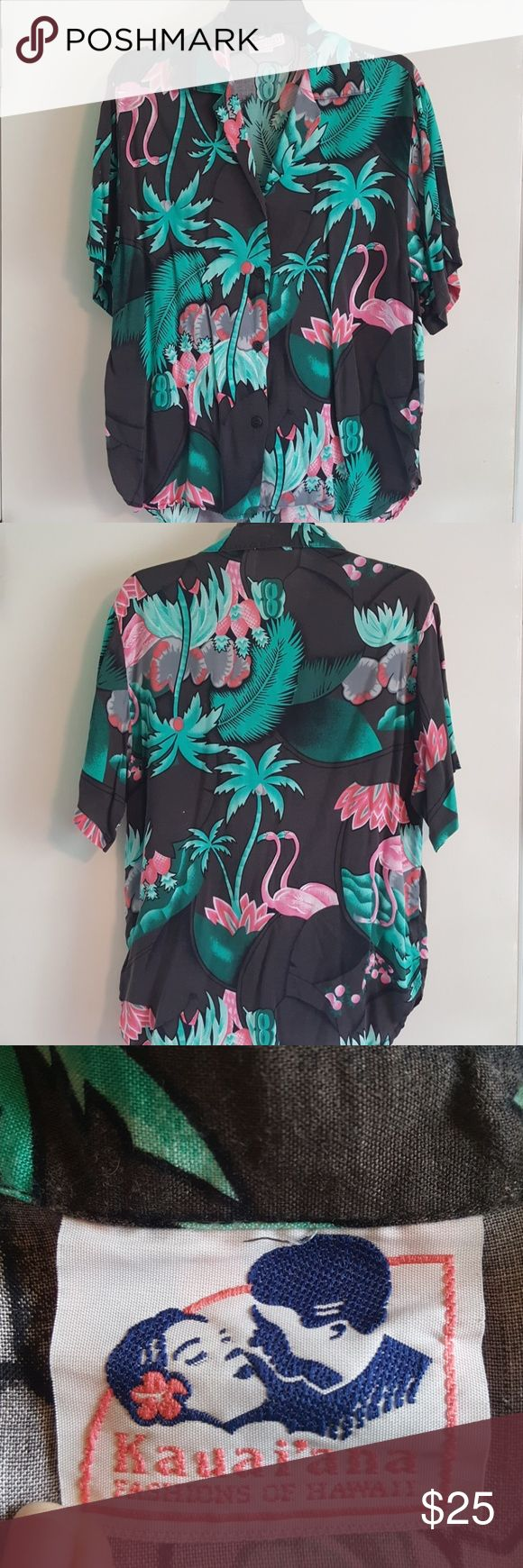 Vintage Hawaiian shirt This vintage Hawaiian shirt sports green palm trees and pink flamingos. It is comfortable and perfect for summer and spring. Kauai'ana Shirts Casual Button Down Shirts
