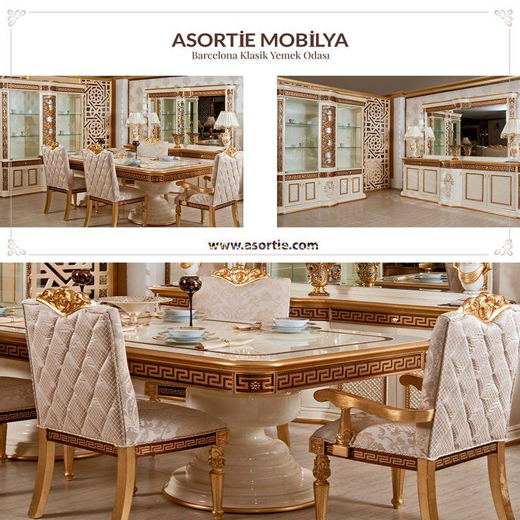 Barcelona Klasik Yemek Odası Yeni sezon klasik yemek odası koleksiyonunun en dikkat çeken modellerinden biri olan Barcelona yemek odası takımı masa, konsol, vitrin ve sekiz adet sandalyeden oluşuyor. Oldukça gösterişli ve ergonomik olan sandalye modellerinden iki tanesi kollu, diğer altı tanesi ise kolsuz olarak tasarlandı. Barcelona yemek odasının en avantajlı yanı ise kullanıcının istediği şekilde salonun konumuna göre özel ölçü olarak yapılabilmesi.