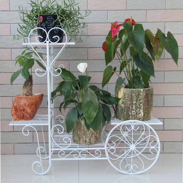 Ferro flor fica varanda titular vaso de flores branco ou preto vaso de ferro stand com rodas de multi - camada plat suporte para decoração