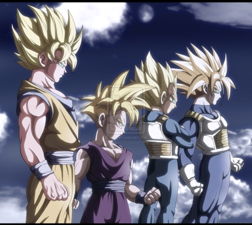 Goku, Gohan, Vegeta and Mirai Trunks. The looks so cool in this art. Wonder who made it...