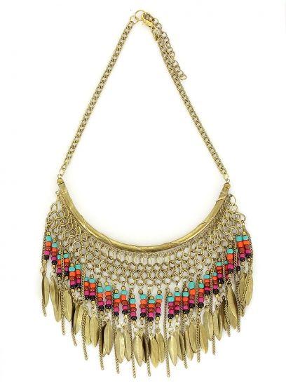 Collier plastron ethnique doré à perles multicolores