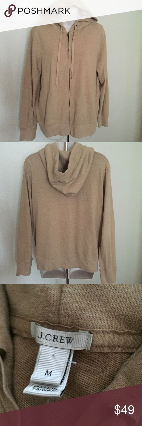 "J. Crew Camel Zip up hoodie size medium This is a gorgeous J.Crew zip up hoodie. Super soft cotton/polyester blend. Size medium. Camel color light brown. Made of corton/polyester/rayon blend. Bust 44 length 24"". Oversized fit. New condition never worn. J. Crew Tops Sweatshirts & Hoodies"