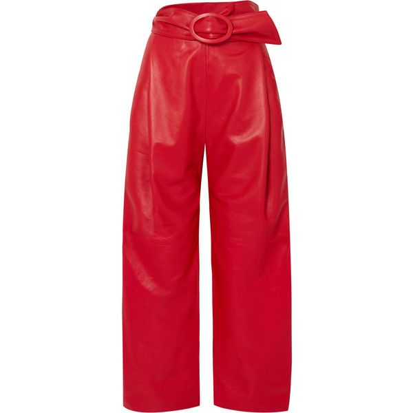 Carmen March Belted leather wide-leg pants found on Polyvore featuring pants, red, red wide leg trousers, checkered pants, real leather pants, red trousers and wide leg pants