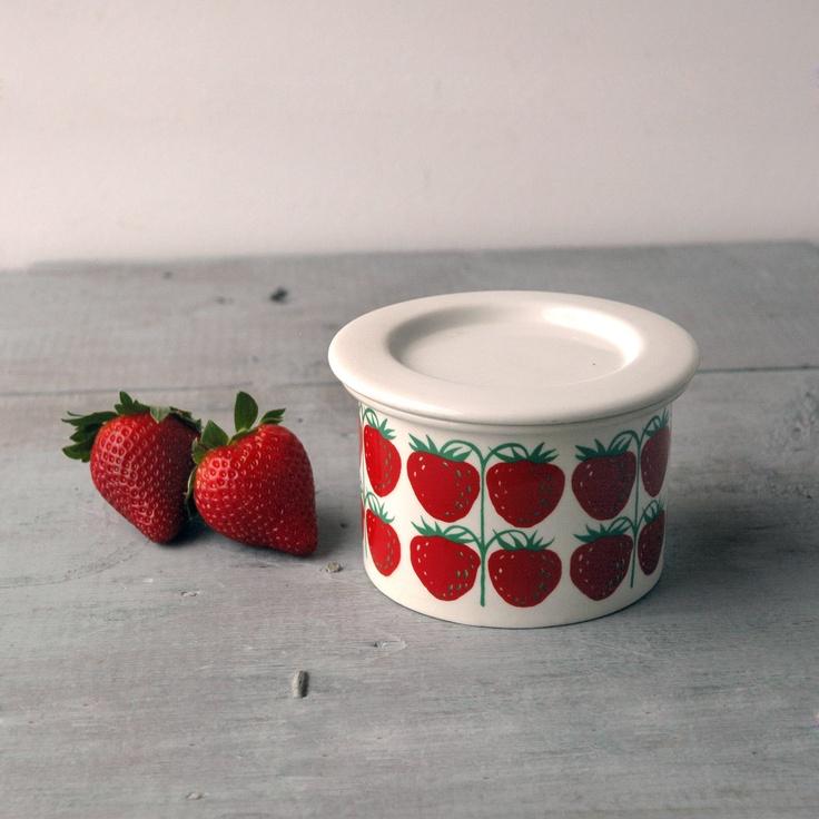 Arabia Strawberry Jam Pot