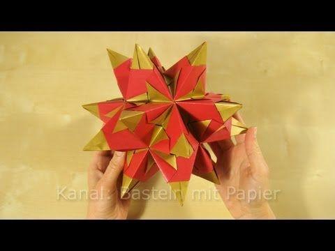 DIY Stern | flacher Bascetta Stern aus 21 Elementen mit 7 Zacken | 3D Stern basteln - YouTube