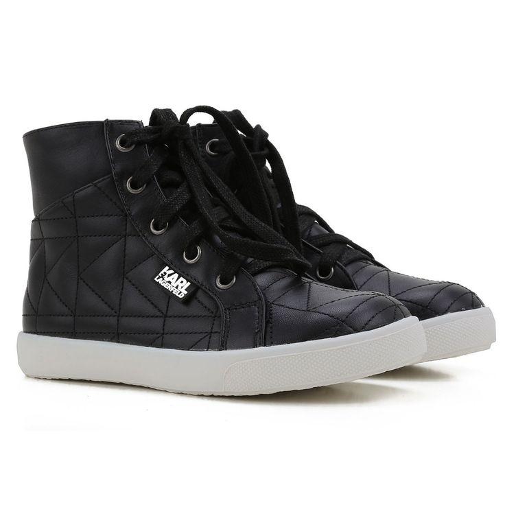 Karl Lagerfeld Boys High-Top Black Leather Sneakers