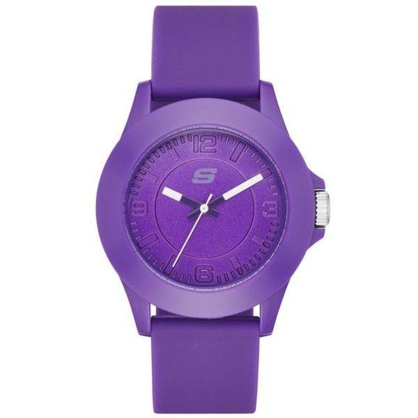 Skechers Purple Womens Purple Silicone Watch ($23) ❤ liked on Polyvore featuring jewelry, watches, purple, silicone wrist watch, skechers, silicone watches, silicone jewelry and purple watches
