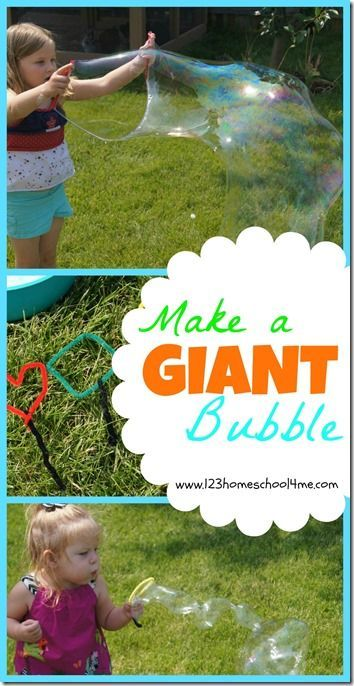 Great summer activity for kids that should be on your bucket list. Try our bubble solution that makes GIANT bubbles in your own backyard. Your kids are going to love it! (kids activities, summer fun, play, best homemade bubble recipe)