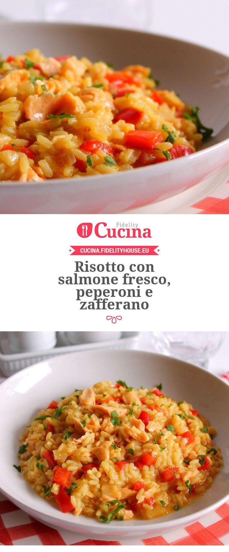 #Risotto con #salmone fresco, #peperoni e #zafferano della nostra utente Giovanna. Unisciti alla nostra Community ed invia le tue ricette!