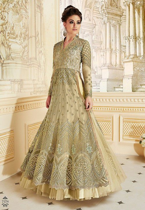 a5ed51c298 Embroidered Net Abaya Style Suit in Light Green | Salwar suit in ...