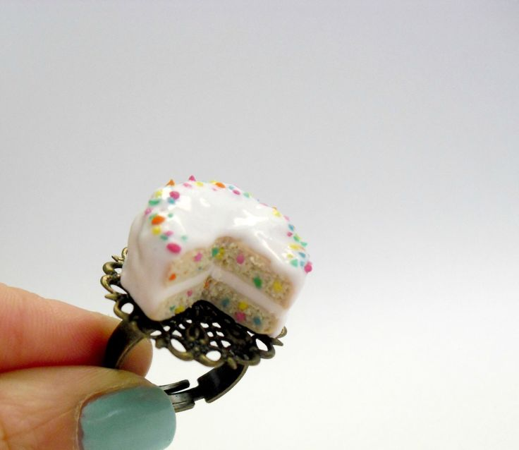 Confetti cake ring- Mini food jewelry-  Cake Statement ring by DivineDecadance on Etsy https://www.etsy.com/listing/163829813/confetti-cake-ring-mini-food-jewelry