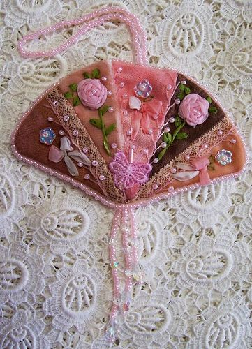 I ❤ crazy quilting & embroidery . . . Crazy Quilted Fan Ornament Tutorial ~By Sandie of Delightfully Crazy blog (offers a really nice step-by-step tutorial).