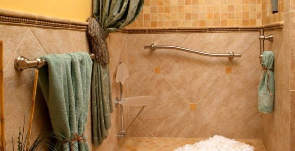 beautiful use of grab bars. love the shower seat too