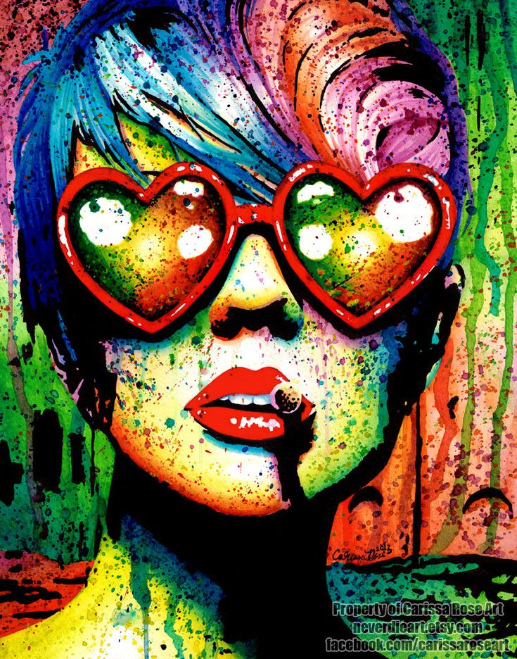 Art Print Punk Rock Pop Art Rainbow Splatter Portrait - Electric Wasteland by Carissa Rose apprx 11x14