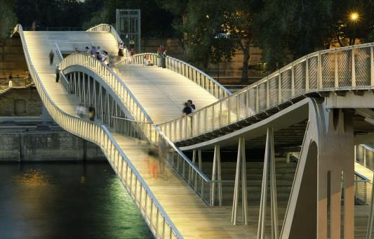Passerelle Simone de Beauvoir by Dietmar Feichtinger Architectes-a pedestrian bridge created by the overlay of the two curves