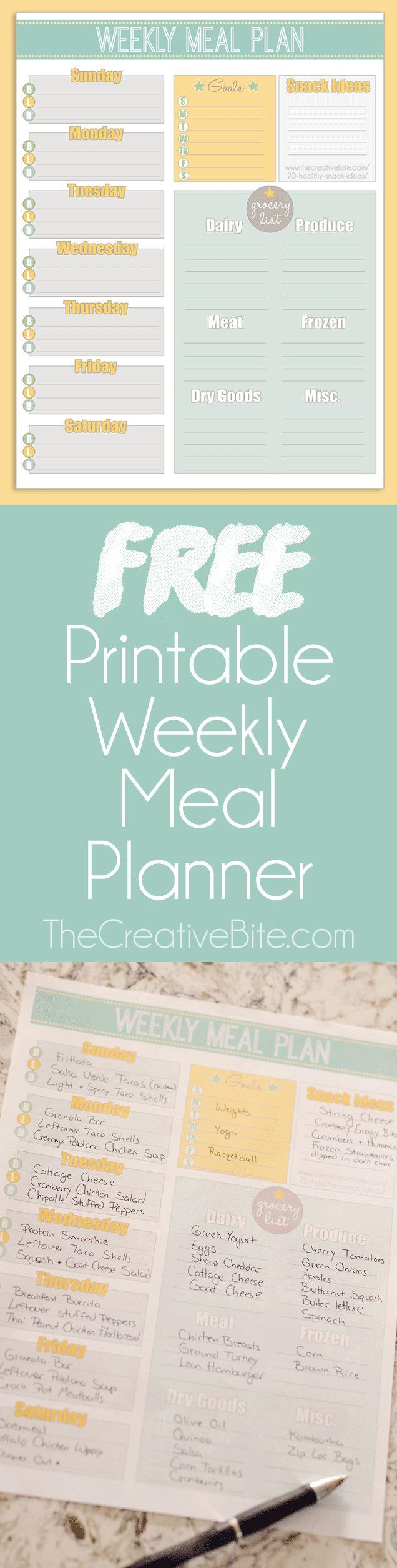 Free printable weekly meal planner calendar