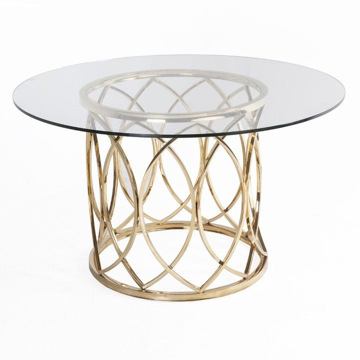 The Well Appointed House Gefen Gold Stainless Steel Dining Table with Clear Glass Top