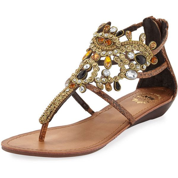 Premium Collection By Yellow Box Araminta Embellished Caged Flat... ($59) ❤ liked on Polyvore featuring shoes, sandals, brown, flat wedge sandals, caged wedge sandals, wedges shoes, brown flat sandals and brown wedge sandals