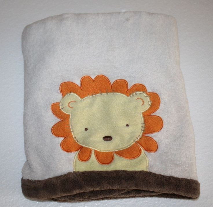 Tiddliwinks Lion Head Baby Blanket Plush Orange Cream