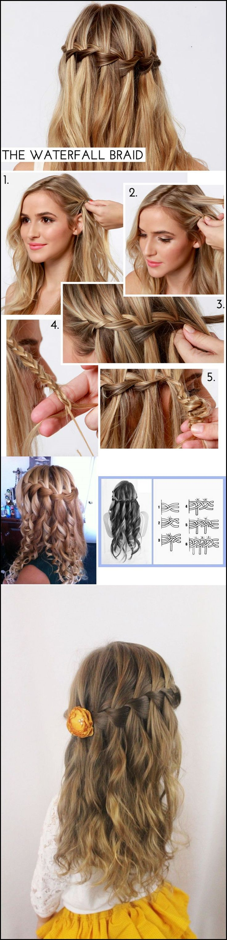 Waterfall braid hairstyle (Video) #diy #hairstyle