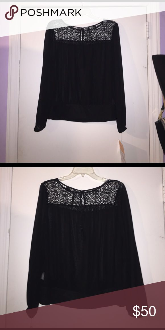 Long sleeve black chiffon blouse with lace Cute tassel detail in the back. Tops Blouses