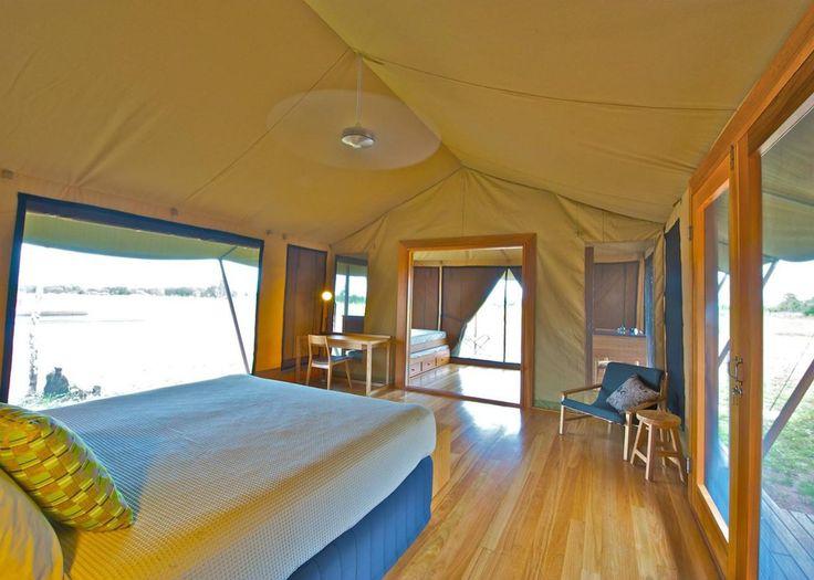 The interior of one of the luxurious safari tents of the Wildman Wilderness Lodge. #interdema #safaritent #ecoresort #luxury #travel #design #WildmanWildernessLodge #KakaduNationalPark #Australia #дизайн #люкс #путешествие