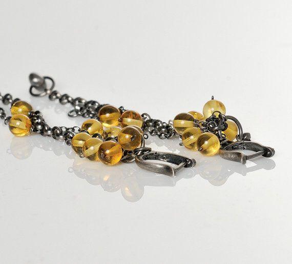 Amber Boho Earrings Citrine Amber Beads Oxide Silver by AnnaBujak