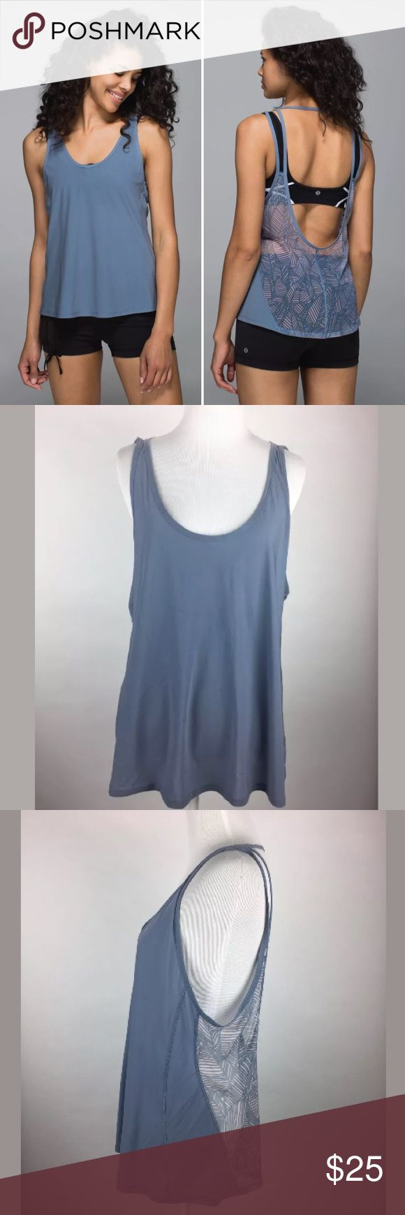 """Lululemon Cool to Street Blue Gray Sheer Tank Top Lululemon Cool to Street In Blue Denim Sheer Open Back Athletic Tank Top Sz 8  36"""" Bust, 25"""" Length  ESTIMATED To fit a size 8. Please use measurements to ensure fit as the size tag is missing.  There are two light spots on the front; view all photos for detail.   From Lulu's site:  Why we made this An easy layer so lightweight we forget we're even wearing it? Yes, please! This sweat-wicking tank is loose and airy to keep us cool and…"""