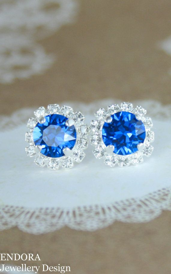 Electric blue swarovski crystal earrings | electric blue wedding | royal blue wedding | blue bridesmaid earrings | www.endorajewellery.etsy.com