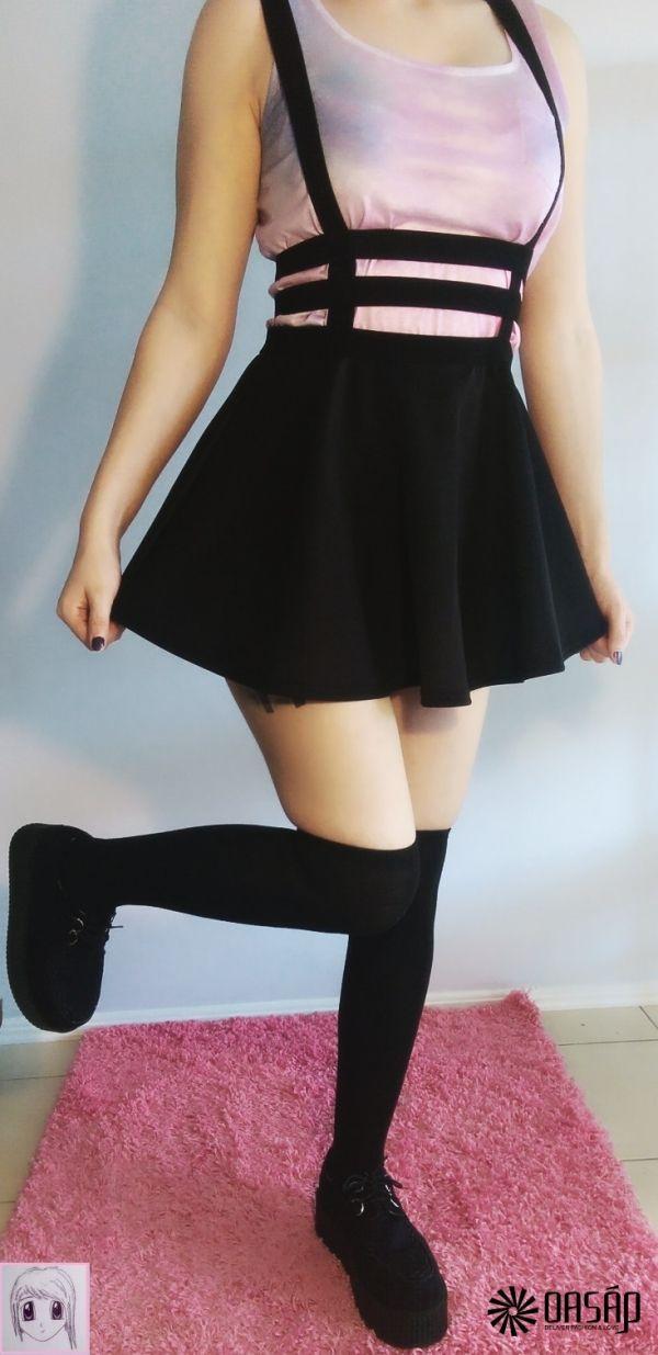 Punk A-line Suspender Skirt m.OASAP.com
