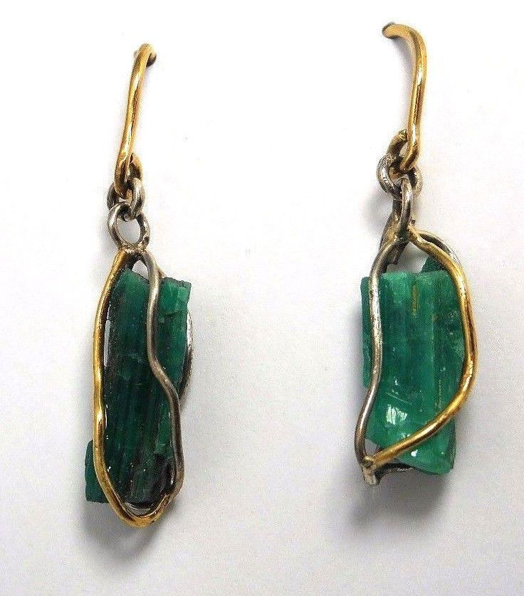 Colombian Emerald Earrings 9.20 Cts 18K Gold & 950 Silver Raw Muzo Emerald Rock  #HandmadeByCeCi #DropDangle