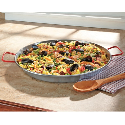 Carbon Steel Skillet, Paella Pan The secret to flavor-enriched paella is this authentic, even-heating, carbon-steel pan made in Spain. From $14.95
