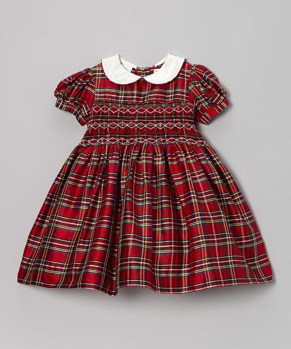 Red Plaid Smocked Silk Dress Toddler Amp Girls