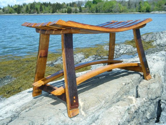 Our benches are crafted with retired wine barrel staves from various wineries in the United States. Superb joinery reflects fine furniture quality. Dimensions may vary depending on barrel stave length but are approximately 18H x 36L x 15 deep. If you have a maximum length requirement, just let us know and we will do our best to accommodate your needs. Each bench is unique because of the characteristics of the oak, the wine stains and the coopering marks. We use a transparent finish to…